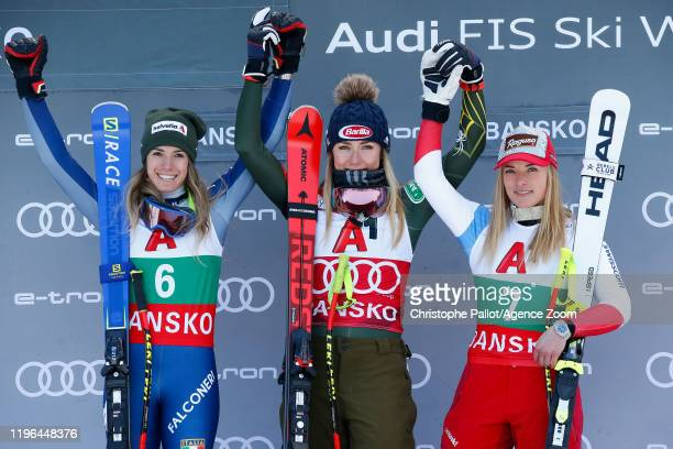 Marta Bassino of Italy takes 2nd place Mikaela Shiffrin of USA takes 1st place Lara Gutbehrami of Switzerland takes 3rd place during the Audi FIS...