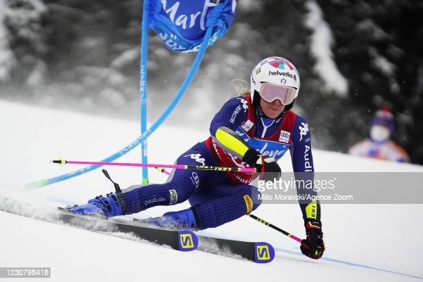 Marta Bassino of Italy takes 3rd place during the Audi FIS Alpine Ski World Cup Men's Giant Slalom on January 26, 2021 in Kronplatz Italy.