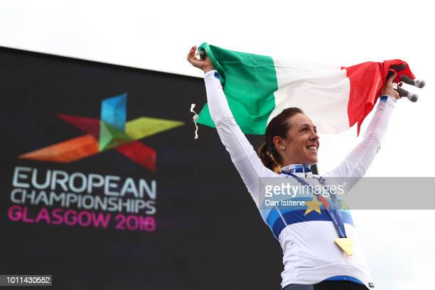 Marta Bastianelli of Italy celebrates with her Gold Medal after winning the Women's Road Race during the Road Cycling on Day Four of the European...