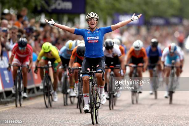 Marta Bastianelli of Italy reacts as she crosses the finish line to win the Road Cycling on Day Four of the European Championships Glasgow 2018 at on...
