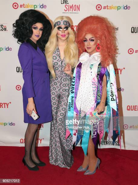 Marta BeatChu Trixie Mattel and Roz Drezfalez attend the Queerty presents 'The Queerties' Award Reception on February 27 2018 in Los Angeles...