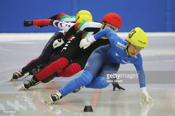 Marta Capurso of Italy leads briefly in the ladies 500m Final but had to settle for second during the ISU European Short Track Speed Skating...
