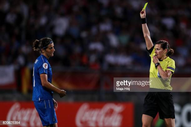 Marta Carissimi of Italy is snown a yellow card by referee during the UEFA Women's Euro 2017 at Koning Willem II Stadium on July 21 2017 in Tilburg...