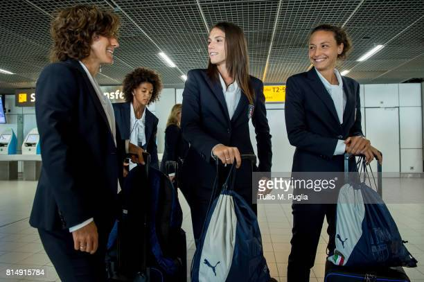 Marta Carissimi Sara Gama Cecilia Salvai and Ilaria Mauro of Italy women's national football team look on after arriving ahead of the UEFA Women's...
