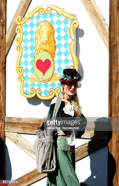 Marta Cecchetto, girlfriend of Luca Toni of Bayern Muenchen, arrives at the Kaefer beer tent during the Oktoberfest beer festival on October 5, 2008...