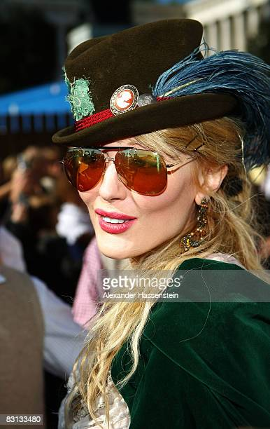 Marta Cecchetto girlfriend of Luca Toni of Bayern Muenchen arrives at the Kaefer beer tent during the Oktoberfest beer festival on October 5 2008 in...