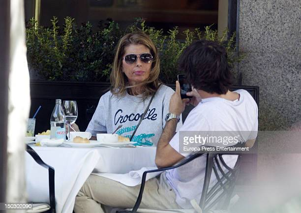 Marta Chavarri and her son Alvaro Falco are seen on August 1 2012 in Madrid Spain