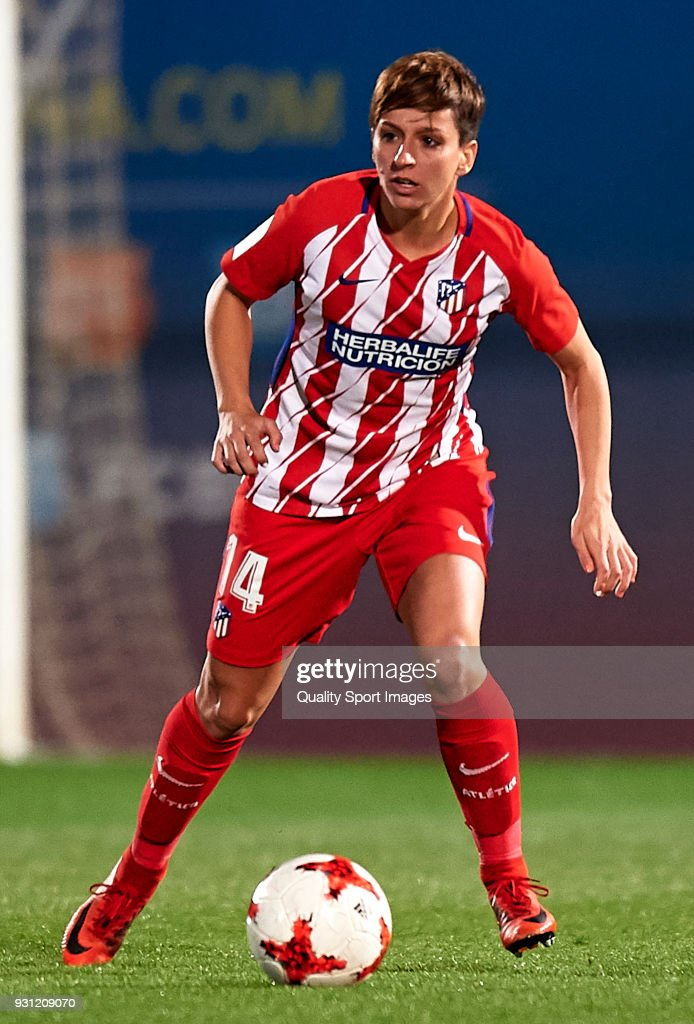 Marta Corredera of Atletico de Madrid in action during the Liga Femenina match between FC Barcelona Women and Atletico de Madrid Women at Ciutat Esportiva Joan Gamper on March 11, 2018 in Barcelona, Spain.