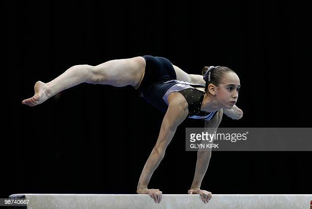 Marta Cuesta of Spain performs on the Beam during the Senior Women's qualification round European Artistic Gymnastics Team Championships 2010...