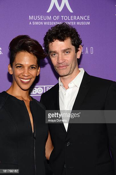 Marta Cunningham and James Frain attend the Los Angeles premiere screening of Valentine Road at Museum Of Tolerance on September 24 2013 in Los...