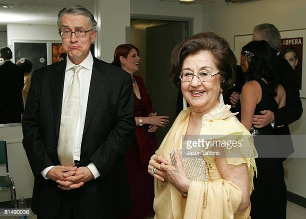 Marta Domingo and guest backstage at the La Rondine LA Opera Opening Night at the Dorothy Chandler Pavilion on June 7 2008 in Los Angeles California