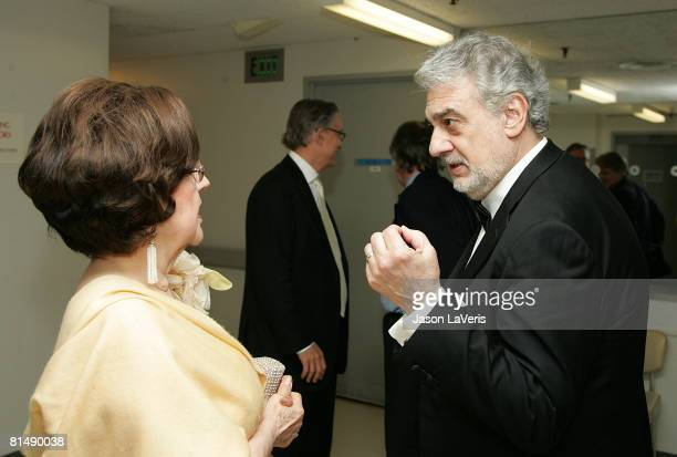 Marta Domingo and Placido Domingo backstage at the La Rondine LA Opera Opening Night at the Dorothy Chandler Pavilion on June 7 2008 in Los Angeles...