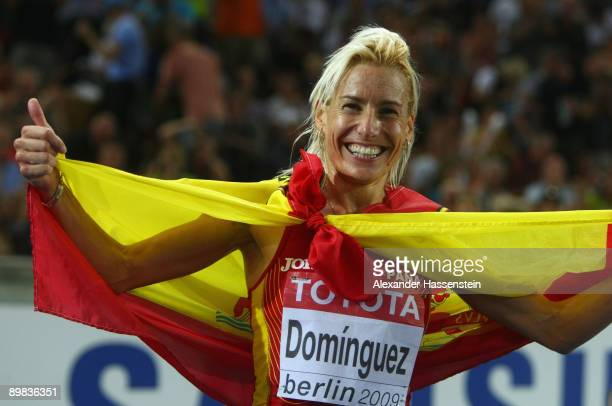 Marta Dominguez of Spain celebrates winning the gold medal in the women's 3000 Metres Steeplechase Final during day three of the 12th IAAF World...