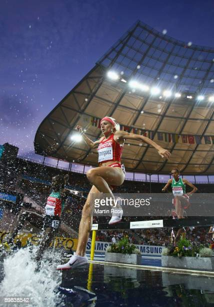 Marta Dominguez of Spain competes in the women's 3000 Metres Steeplechase Final during day three of the 12th IAAF World Athletics Championships at...