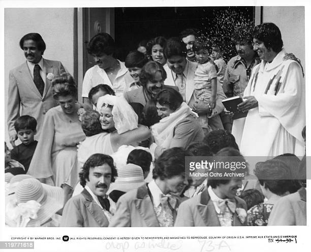 Marta DuBois hugs at wedding in a scene from the film 'Boulevard Nights' 1979