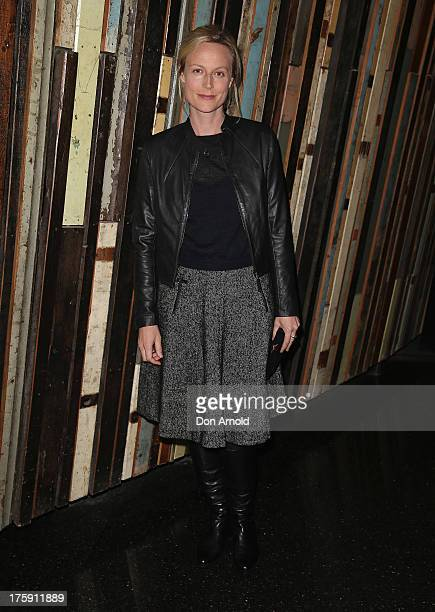 Marta Dusseldorp arrives at the opening night of Rosencrantz Guildenstern are Dead at the Sydney Theatre Company on August 10 2013 in Sydney Australia