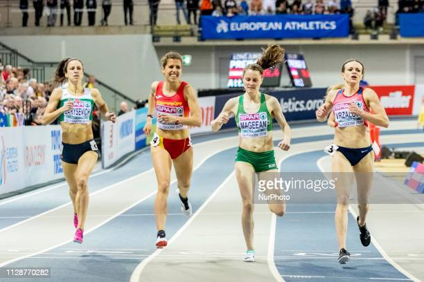 Marta ESP MAGEEAN Ciara IRL and VRZALOV Simona CZE competing in the 1500m Women event during day ONE of the European Athletics Indoor Championships...