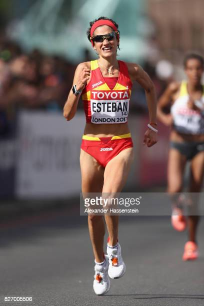 Marta Esteban of Spain competes in the Women's Marathon during day three of the 16th IAAF World Athletics Championships London 2017 at The London...
