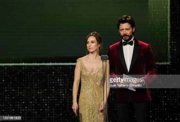 Marta Etura and Alvaro Morte attend the 34th edition of the 'Goya Cinema Awards' ceremony at Jose Maria Martin Carpena Sports Palace on January 25...