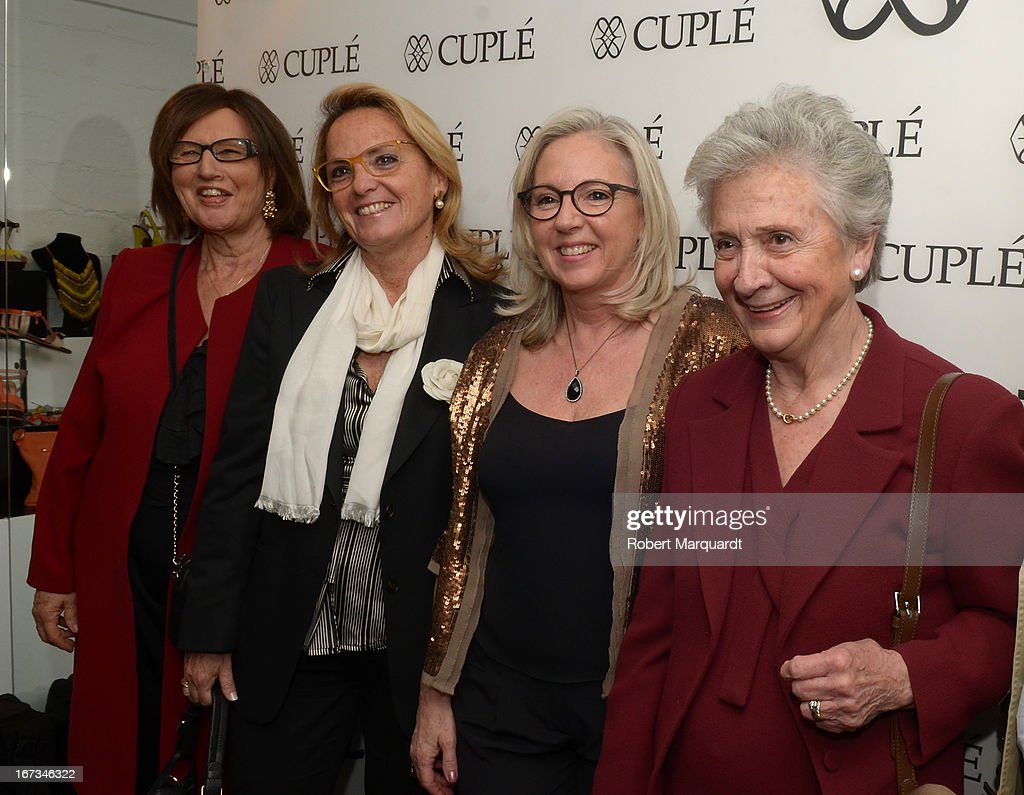 Marta Ferrusola (R) and Helena Rokosnik (2ndL) attend the Cuple store opening on April 24, 2013 in Barcelona, Spain.