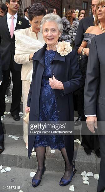Marta Ferrusola attends Mercedes Pujol's wedding the grandaughter of politician Jordi Pujol at Santa Maria del Mar Church on March 31 2012 in...