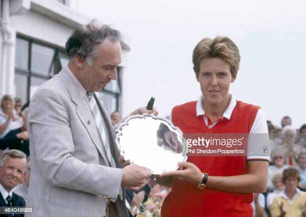 Marta FiguerasDotti of Spain being presented with the trophy after winning the Women's British Open Golf Championship held at the Royal Birkdale Golf...