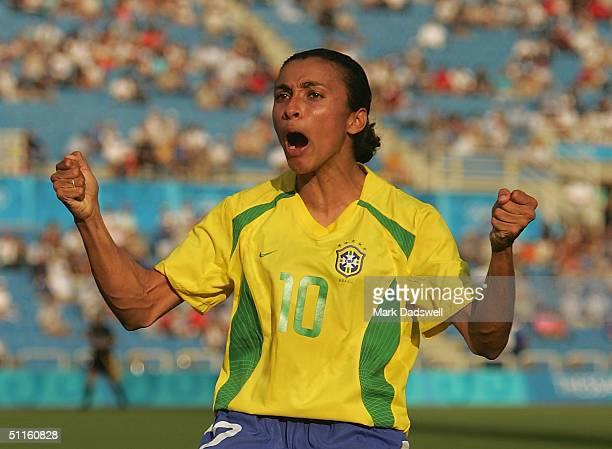 Marta for Brazil celebrates a goal against Australia in the women's football preliminary match on August 11, 2004 during the Athens 2004 Summer...