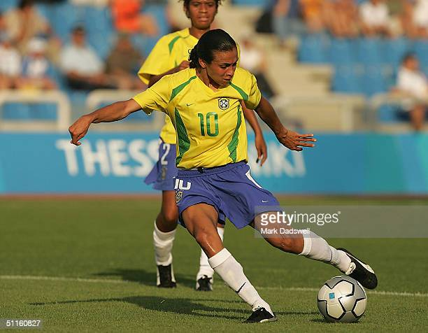 Marta for Brazil scores a goal against Australia in the women's football preliminary match on August 11 2004 during the Athens 2004 Summer Olympic...