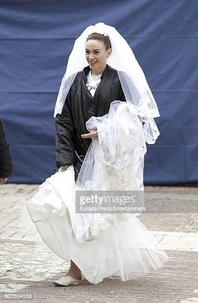 Marta Hazas is seen during the set filming of 'Galerias Velvet' on December 14 2015 in Madrid Spain