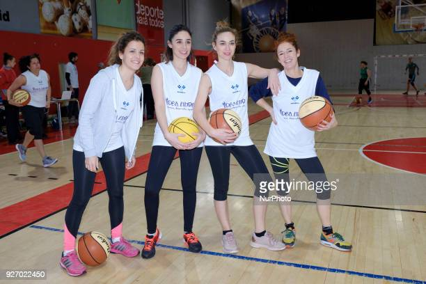 Marta Hazas Malena Alterio and Candela Serrat pose during the charitable women's basketball game actresses vs explayers at the Sports Facilities of...