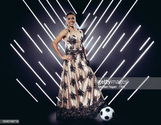 Marta is pictured inside the photo booth prior to The Best FIFA Football Awards at Royal Festival Hall on September 24 2018 in London England