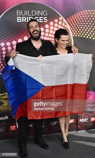 Marta Jandova and Vaclav Noid Barta who will represent Czech Republic at '2015 Eurovision Festival' pose at a press meet and greet ahead of the...