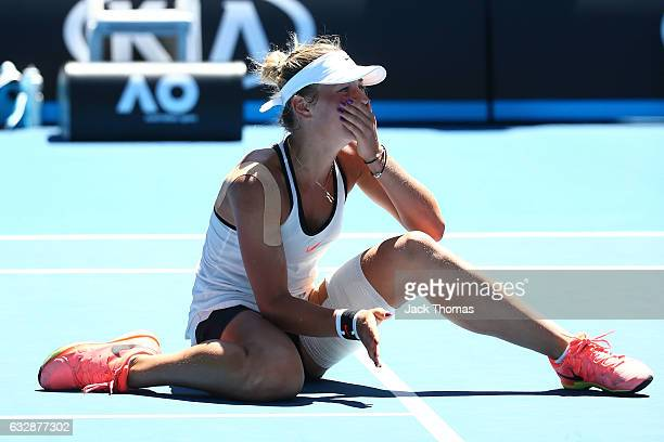 Marta Kostyuk of the Ukraine celebrates winning championship point in her Junior Girls Singles Final match against Rebeka Masarova of Switzerland...