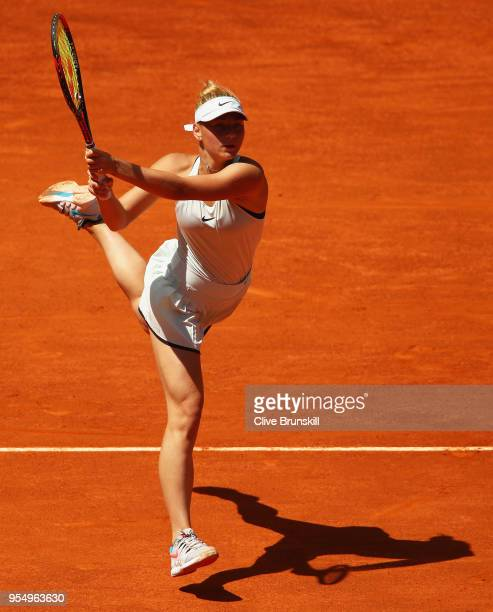 Marta Kostyuk of the Ukraine in action against Lara Arruabarrena of Spain in their first round match during day one of the Mutua Madrid Open tennis...