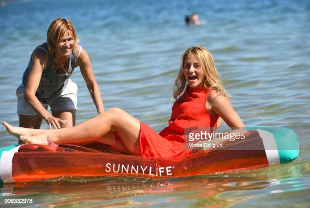 Marta Kostyuk of Ukraine and mother Talyma Kostyuk making the most of the hot Melbourne weather by visiting Albert Park beach during day four of the...