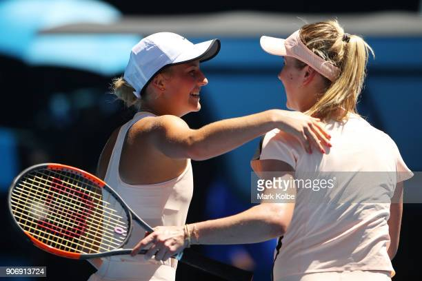 Marta Kostyuk of Ukraine congratulates Elina Svitolina of Ukraine after Svitolina won their third round match on day five of the 2018 Australian Open...