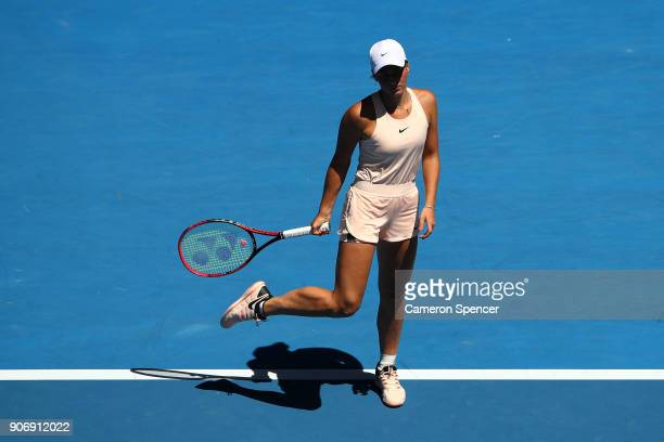 Marta Kostyuk of Ukraine looks on in her third round match against Elina Svitolina of Ukraine on day five of the 2018 Australian Open at Melbourne...