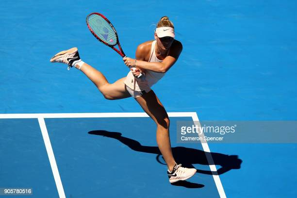 Marta Kostyuk of Ukraine plays a backhand in her second round match against Olivia Rogowska of Australia on day three of the 2018 Australian Open at...