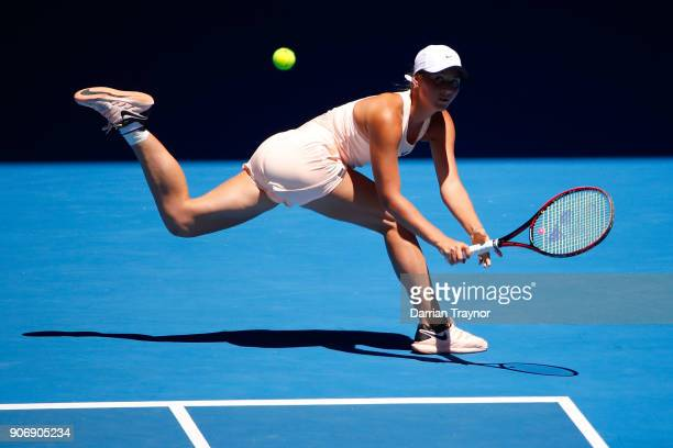 Marta Kostyuk of Ukraine plays a backhand in her third round match against Elina Svitolina of Ukraine on day five of the 2018 Australian Open at...