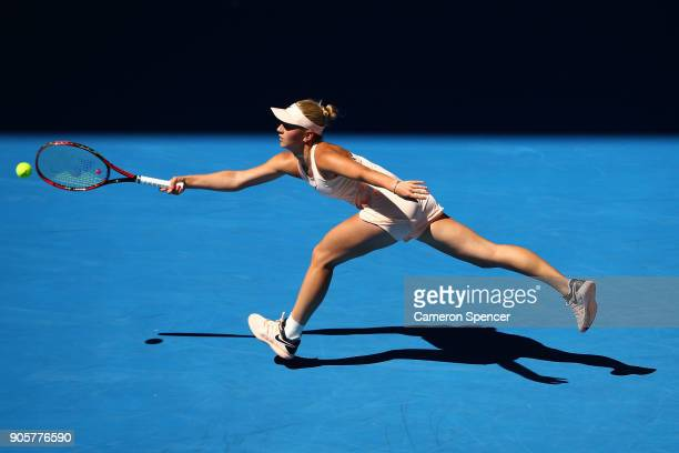 Marta Kostyuk of Ukraine plays a forehand in her second round match against Olivia Rogowska of Australia on day three of the 2018 Australian Open at...