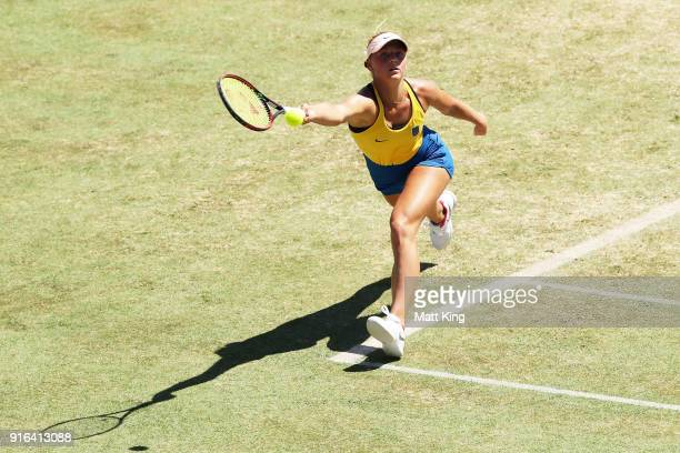 Marta Kostyuk of Ukraine plays a forehand in her singles match against Daria Gavrilova of Australia during the Fed Cup tie between Australia and the...