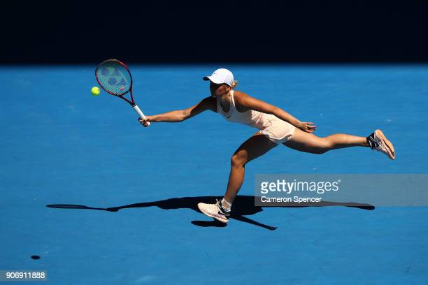 Marta Kostyuk of Ukraine plays a forehand in her third round match against Elina Svitolina of Ukraine on day five of the 2018 Australian Open at...