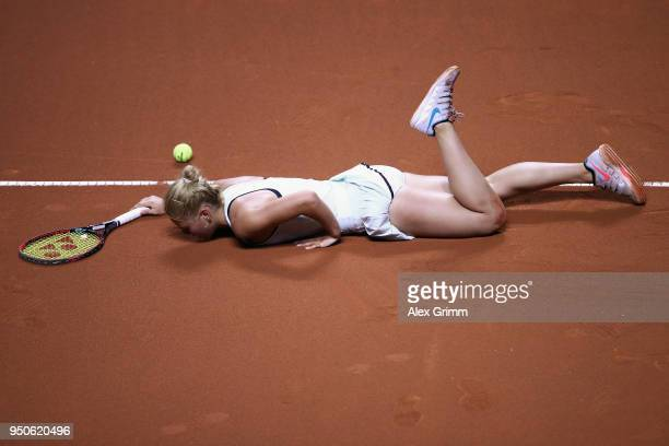 Marta Kostyuk of Ukraine reacts during her match against Antonio Lottner of Germany on day 2 of the Porsche Tennis Grand Prix at PorscheArena on...