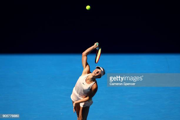 Marta Kostyuk of Ukraine serves in her second round match against Olivia Rogowska of Australia on day three of the 2018 Australian Open at Melbourne...