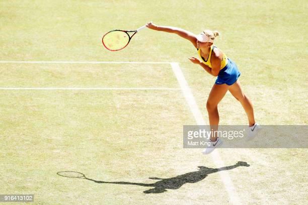 Marta Kostyuk of Ukraine serves in her singles match against Daria Gavrilova of Australia during the Fed Cup tie between Australia and the Ukraine at...