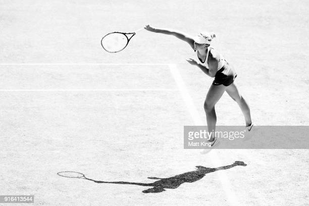 Marta Kostyuk of Ukraine serves in her singles match against Daria Gavrilova of Australia during the Fed Cup tie between Australia and the Ukraine at...