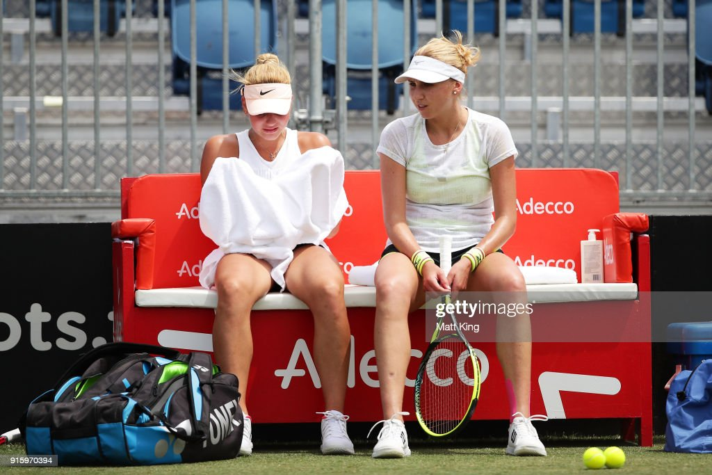 Marta Kostyuk of Ukraine (L) talks to Lyudmyla Kichenok of Ukraine (R) during practice ahead of the Fed Cup tie between Australia and the Ukraine on February 9, 2018 in Canberra, Australia.