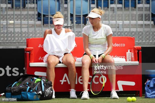 Marta Kostyuk of Ukraine talks to Lyudmyla Kichenok of Ukraine during practice ahead of the Fed Cup tie between Australia and the Ukraine on February...