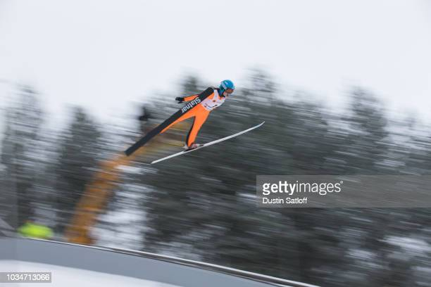 Marta Krepelkova of the Czech Republic competes in the Women's Ski Jumping HS100 qualification rounds during the FIS Nordic World Ski Championships...