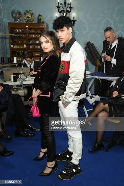 Marta Losito and Gianmarco Rottaro are seen at Dolce & Gabbana Front Row during Milan Men's Fashion Week Fall/Winter 2020/2021 on January 11, 2020 in...